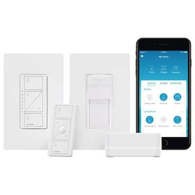 Caseta Wireless Smart Lighting Dimmer Switch and Pico Wall-Mounting Starter Kit with Smart Bridge