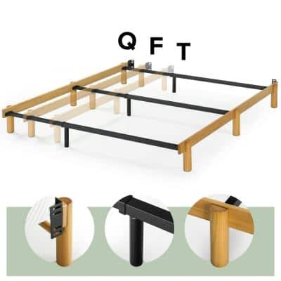 Austin Twin/Full/Queen Metal and Wood Compack Adjustable Bed Frame
