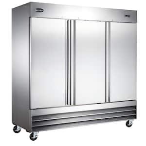 72.0 cu. ft. Three Door Commercial Reach In Upright Freezer in Stainless Steel