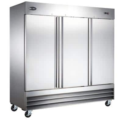 81 in. W 72 cu. ft. Three Door Commercial Reach In Upright Refrigerator in Stainless Steel