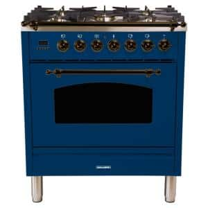30 in. 3.0 cu. ft. Single Oven Dual Fuel Italian Range with True Convection, 5 Burners, Bronze Trim in Blue