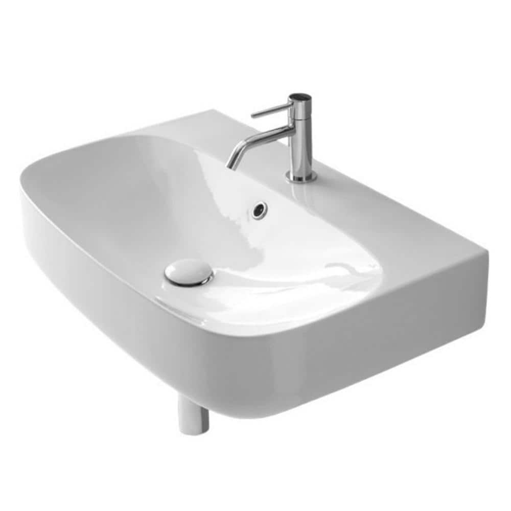 Nameeks Moon Wall Mounted Bathroom Sink In White Scarabeo 5508 One Hole The Home Depot