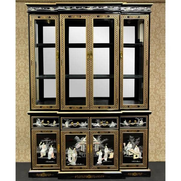 Oriental Furniture Black Lacquer Breakfront Cabinet Lcq Ha1923 The Home Depot