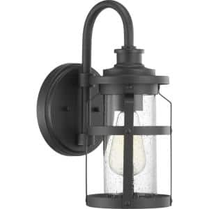 Haslett Collection 1-Light Textured Black Clear Seeded Glass Farmhouse Outdoor Small Wall Lantern Light