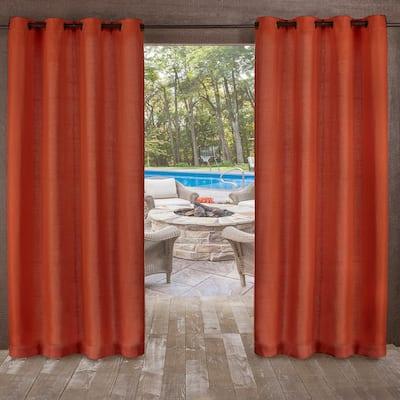 Mecca Orange Solid Grommet Room Darkening Curtain - 54 in. W x 84 in. L (Set of 2)