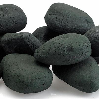 2 lbs. Small Lava Rock Matte Black Lite Stones (15-Stone Set)