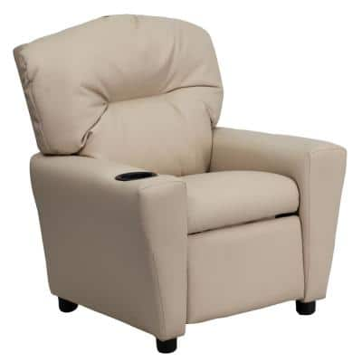 Contemporary Beige Vinyl Kids Recliner with Cup Holder