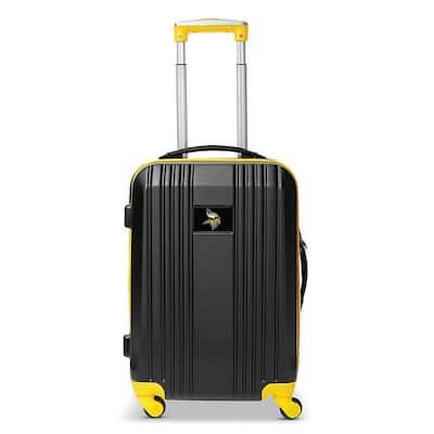 NFL Minnesota Vikings Black 21 in. Hardcase 2-Tone Luggage Carry-On Spinner Suitcase