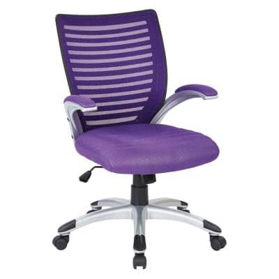 Purple Manager's Chair with Padded Silver Arms and Nylon Base