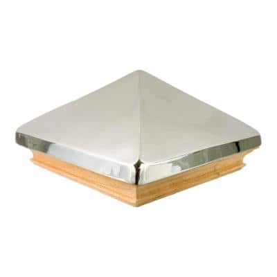 Miterless 4 in. x 4 in. Untreated Wood Flat Slip Over Fence Post Cap with Stainless Steel Pyramid