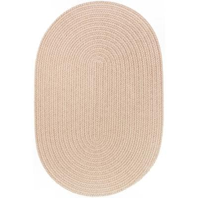 Joy Braids Solid Sand Beige 2 ft. x 4 ft. Oval Indoor/Outdoor Braided Area Rug