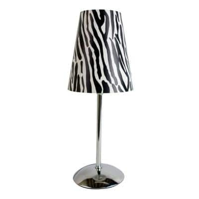 13.50 in. Silver Mini Table Lamp with Plastic Zebra Printed Shade