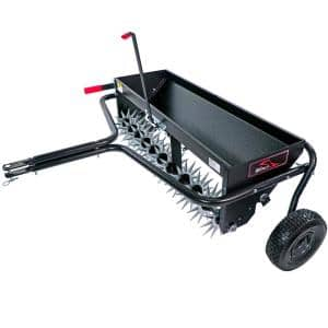 40 in. Tow-Behind Combination Aerator Spreader with 3-D Steel Tines and Pneumatic Tires