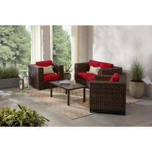 Fernlake 4-Piece Taupe Wicker Outdoor Patio Deep Seating Set with CushionGuard Chili Red Cushions