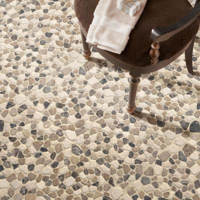 Mix Marble Pebbles 11.42 in. x 11.42 in. x 10 mm Tumbled Marble Mosaic Tile (0.91 sq. ft.)