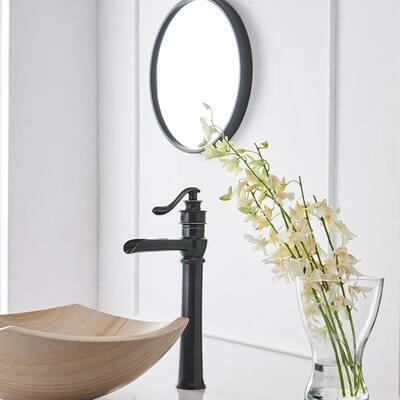 Single Hole Single-Handle Vessel Bathroom Faucet in Bronze Tall Body