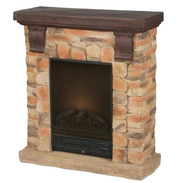Luxenhome 31 9 In W X 35 8 In H Free Standing Electric Fireplace Heater Mantel With Remote In Polystone Brick Whif993 The Home Depot
