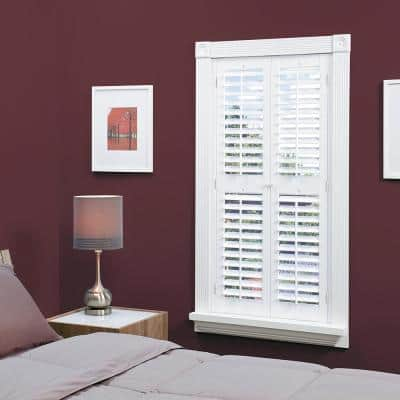 White 2-1/4 in. Plantation Faux Wood Interior Shutter 35 to 37 in. W x 74 in. L
