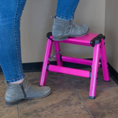 1-Step Aluminum Folding Stool with 330 lbs. Load Capacity in Neon Pink (2-Pack)