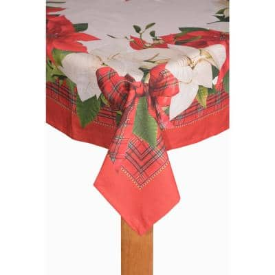 Poinsettia Tartan 60 in. x 102 in. 80% Cotton 20% Polyester Tablecloth