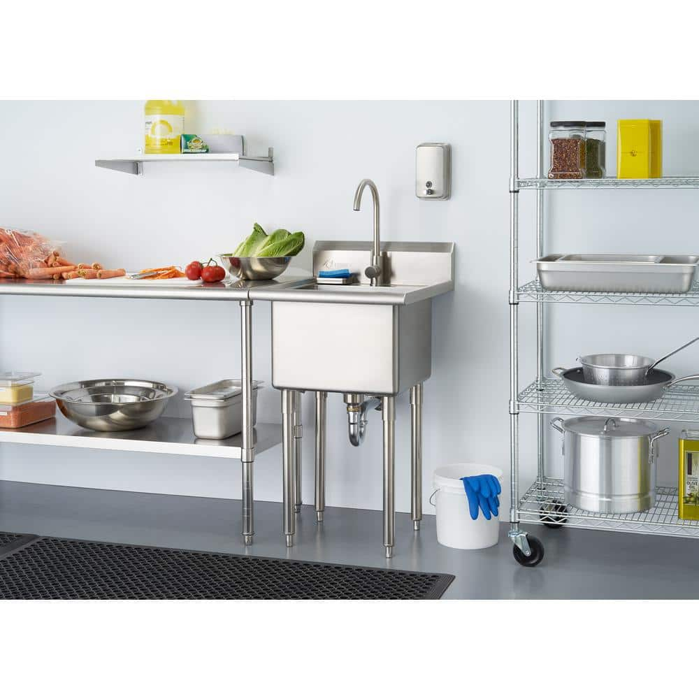 Trinity 21 5 In W X 24 In D X 49 3 In H Stainless Steel Utility Sink Tha 0303 The Home Depot