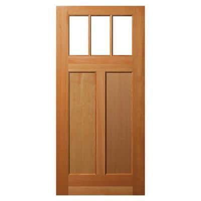 36 in. x 80 in. 2 Panel Universal/Reversible Craftsman 3 Lite Clear Low-E Glass Unfinished Fir Wood Front Door Slab