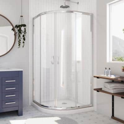 Prime 36 in. x 36 in. x 74.75 in. H Corner Semi-Frameless Sliding Shower Enclosure in Chrome with Shower Base in White
