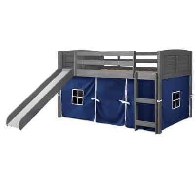 Antique Grey Twin Louver Low Loft Bed with Slide and Blue Tent Kit