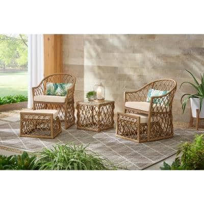 Long Beach 5-Piece Steel Outdoor Patio Conversation Seating Set with Beige Cushions