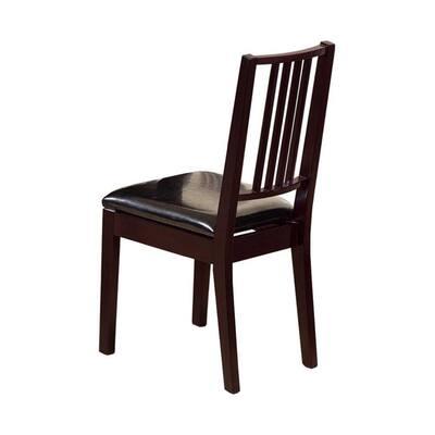 Dark Brown Wooden Dining Chair (Set of 2)