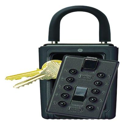 Portable 3-Key Lock Box with Pushbutton Combination Lock, Black