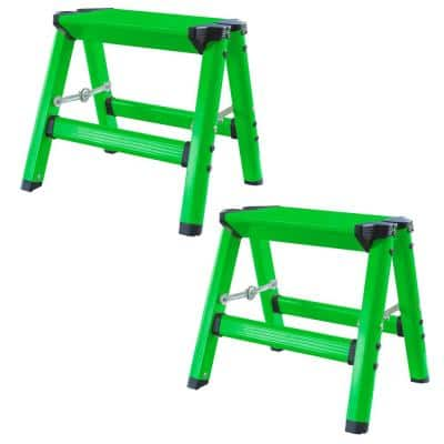 1-Step Aluminum Folding Stool with 325 lbs. Load Capacity in Neon Green (2-Pack)