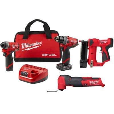 M12 FUEL 12-Volt Cordless Hammer Drill and Impact Driver with M12 23-Gauge Pin Nailer and M12 FUEL Multi-Tool Combo Kit