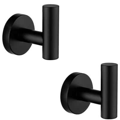 Round Bathroom Robe Hook and Towel Hook in Stainless Steel Matte Black (2-Pack)