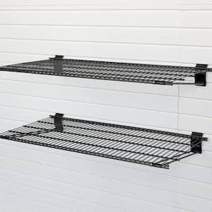 12 in. x 24 in. Metal Garage Wall Shelving in Black (2-Pack)
