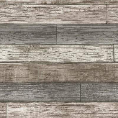 Reclaimed Wood Plank Natural Vinyl Peel & Stick Wallpaper Roll (Covers 30.75 Sq. Ft.)