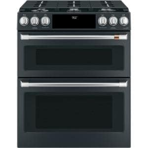 30 in. 7.0 cu. Ft. Slide-In Smart Double Oven Dual-Fuel Range with Self Clean Convection in Matte Black