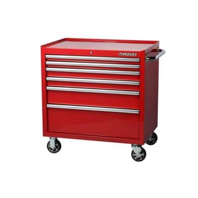 36 in. W 6-Drawer, Deep Tool Chest Cabinet in Gloss Red