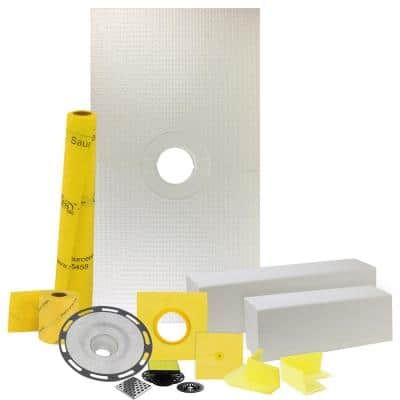Pro GEN II 32 in. x 60 in. Tile Shower Waterproofing Kit with Center Drain and PVC Flange