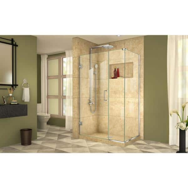 Dreamline Unidoor Plus 42 In W X 30 3 8 In D X 72 In H Frameless Hinged Shower Enclosure In Chrome Shen 24420300 01 The Home Depot
