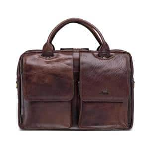 Arizona Collection Brown Leather Double Compartment Top Zipper Briefcase for 15.6 in. Laptop/Tablet