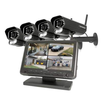 PHOENIXM2 Non-Wi-Fi Plug-In Power Security Camera System with 7 in. Monitor SD Card Recording and 4 Night Vision Cameras