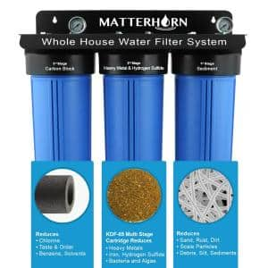 3-Stage Whole House 20 in. Big Blue Water Filtration System, Designed for Iron, Hydrogen Sulfide, Heavy Metal Reduction