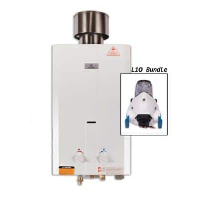L10 3.0 GPM Portable 75,000 BTU Liquid Propane Outdoor Tankless Water Heater with Flojet Water Pump