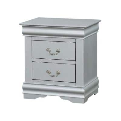 Amelia 2-Drawer 16 in. x 22 in. x 24 in. Platinum Classic Wood Nightstand