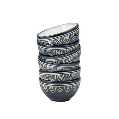 10 oz. Teal Tribal Stoneware Bowl (Set of 6)