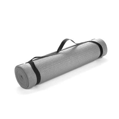 All Purpose Extra Thick Grey Fitness & Exercise 24 in. x 68 in. Yoga Mat with Carrying Strap