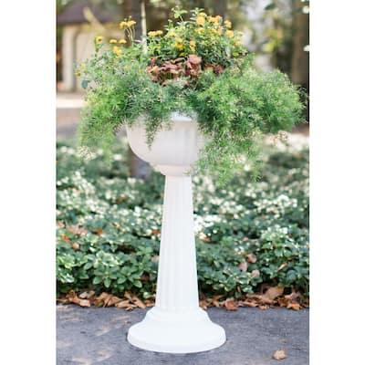 Grecian 32 in. Black Plastic Urn Tall Pedestal Planter