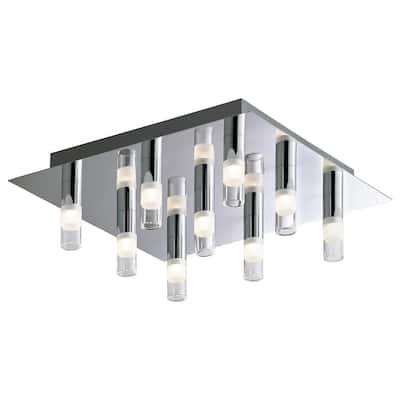 9-Light Chrome Square LED Ceiling Fixture