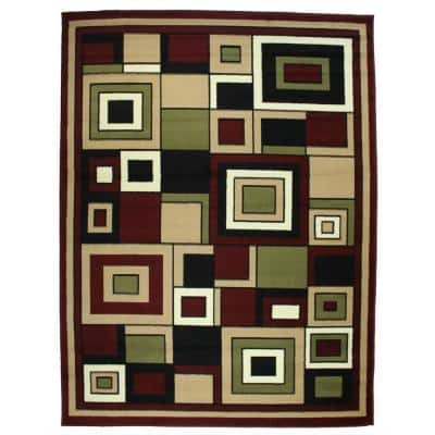 Nairobi Collection Boxes Red 8 ft. x 10 ft. Polypropylene Area Rug
